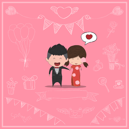 reference: Duration cute cartoon Wedding couple men and women card for chinese dress, cute Valentines Day card, drawing by hand vector and digital illustration created without reference image. Illustration