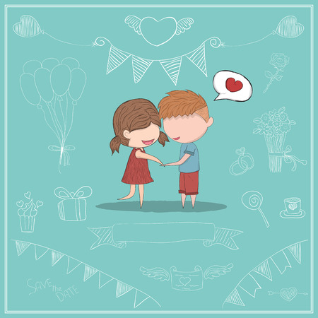 clasp: Cute cartoon doodle lovers a boy and a girl clasp card, cute Valentines Day card, drawing by hand vector and digital illustration created without reference image. Illustration