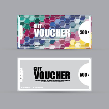 Gift voucher template with colorful pattern six coving, Vector illustration Illustration