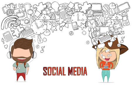 home video camera: Teenage girl and boy wearing hat playing with phone happy template design thinking idea with social network icons background. Drawing by hand vector. Social network background with media icons.