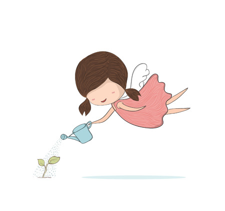 sapling: Cute doodle of a girl angel girl watering sapling, gardening, drawing by hand vector