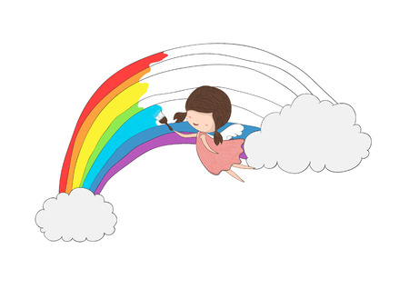 angel girl: Cute doodle of a girl angel painting a rainbow between two clouds, drawing by hand vector Illustration