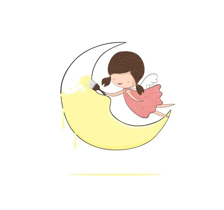moon angels: Cute doodle of a girl angel painting a moon, drawing by hand vector Illustration
