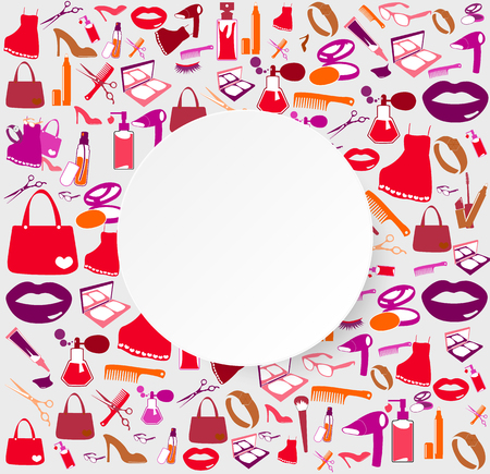 balm: Cosmetic, make up and beauty icons and background.