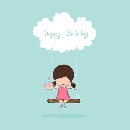Cartoon girl swinging and girl with birthday cupcake on a cloud, drawing by hand vector