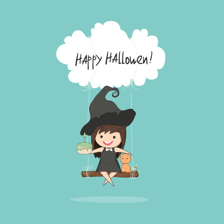 stupid body: Cartoon girl witch holding cupcake and swinging with  on a cloud, halloween, drawing by hand vector