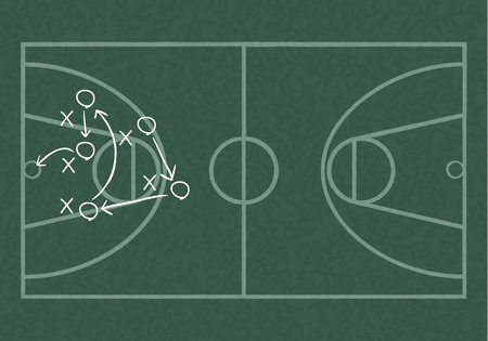 floorboards: Realistic blackboard drawing a basketball game strategy. Illustration