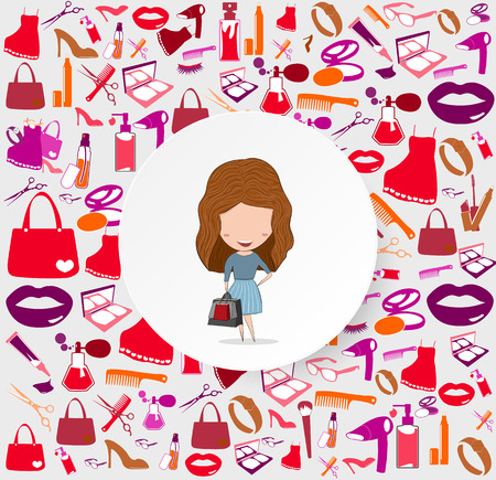 gloss: Girl with shopping bags on cosmetic, make up and beauty icons and background.
