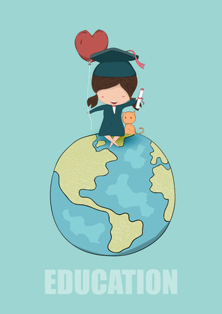 pupils: Girl graduated pupils with and cat sitting on Globe, drawing by hand vector Illustration