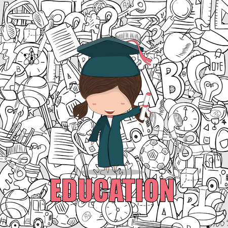graduated: Girl graduated pupils back of education background, drawing by hand vector