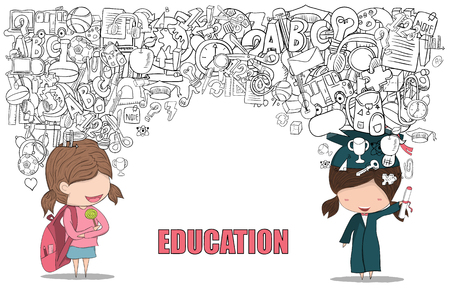 graduated: Schoolgirl and girl graduated pupils back of school background, drawing by hand vector