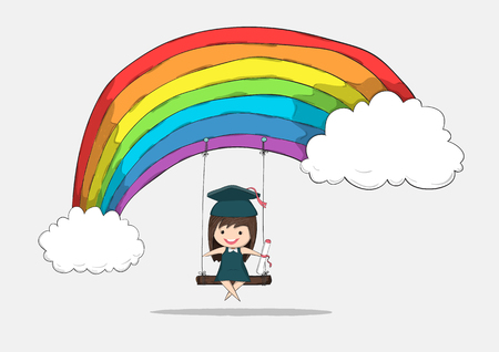 swinging: Girl graduated pupils swinging on a rainbow, drawing by hand vector