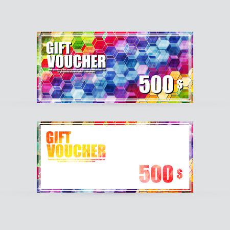 Gift voucher colorful, Vector illustration