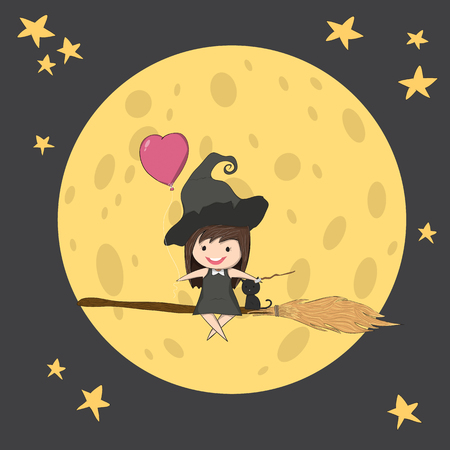 stupid body: Witch cute and black cat ride on the swinging with broom on a moon, halloween, drawing by hand vector