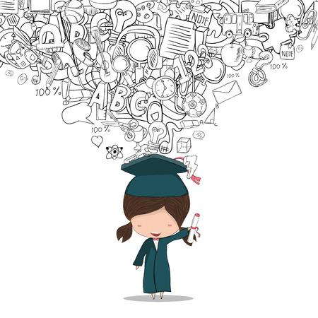 Fille diplômé élèves de retour de fond de l'école, dessin de vecteur de la main Vecteurs