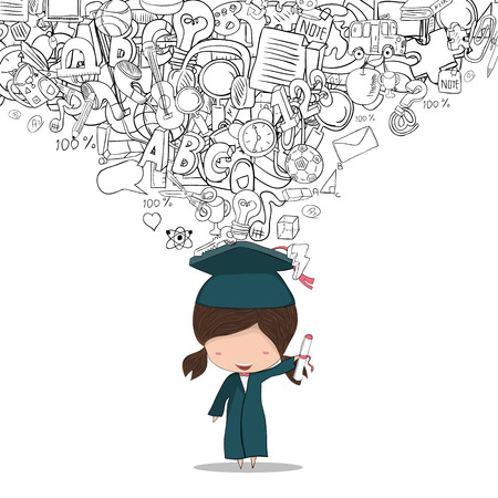 graduated: Girl graduated pupils back of school background, drawing by hand vector Illustration