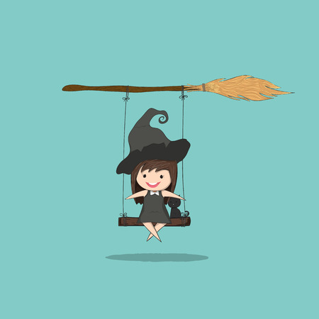stupid body: Witch cute and black cat ride on the swinging with broom, halloween, drawing by hand vector