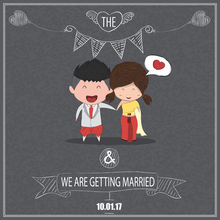Cute cartoon wedding couple men and women card blackboard background style thai dress, cute valentines Day card, drawing by hand vector