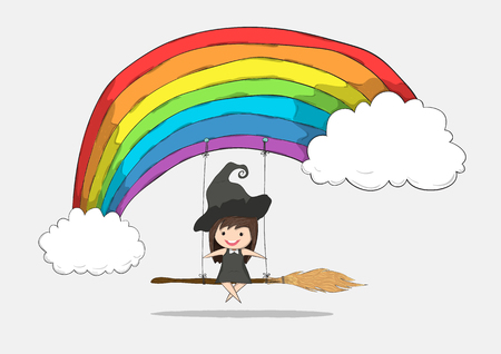 stupid body: Witch cute swinging on a broom and rainbow and penguin cute halloween character, drawing by hand vector