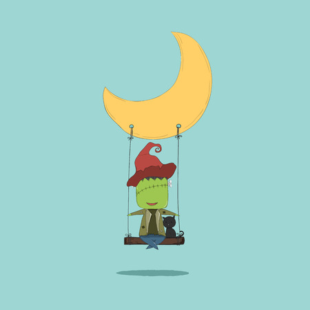 swinging: Cartoon monster swinging on a moon, drawing by hand vector