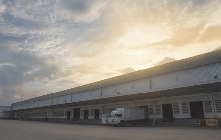 parking facilities: Warehouse on cloudy Editorial