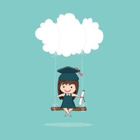 pupils: Cartoon girl graduated pupils swinging on a cloud, drawing by hand vector