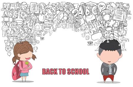 Ecolière et Schoolboy élèves arrière du fond de l'école, dessin de vecteur de la main Vecteurs