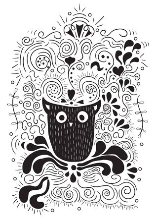 tonight: Halloween owl, hand lettering, banner and ornaments. Tonight is a very scary party., poster or print. drawing by hand vector. Illustration