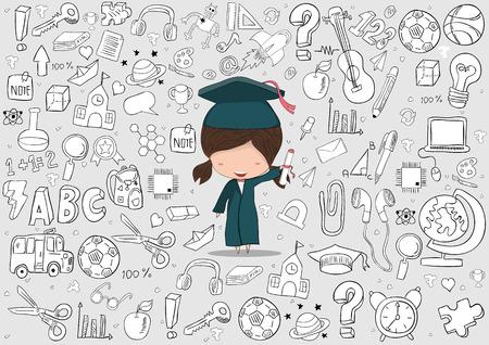 Fille diplômé élèves l'éducation et de retour au fond de l'école, dessin de vecteur de la main