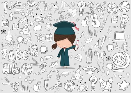 Girl graduated pupils education and back to school background, drawing by hand vector