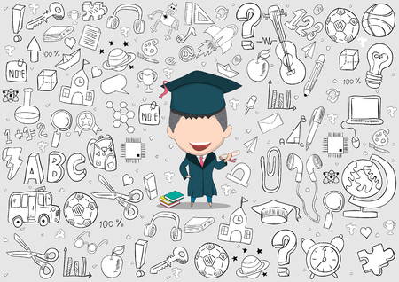 Graduated boy pupils back of school background, drawing by hand vector