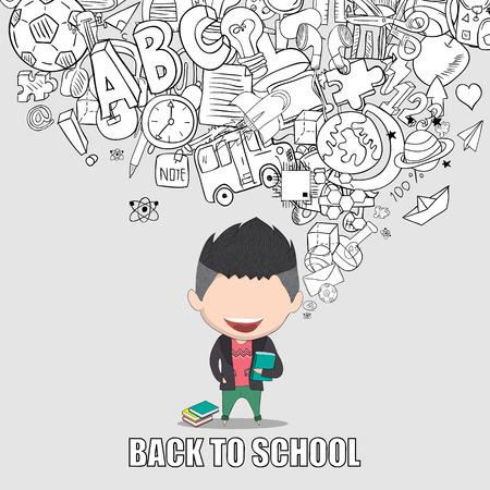 élèves de garçon graduées retour de fond de l'école, dessin de vecteur de la main