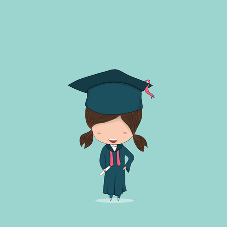 Girl graduated pupils, drawing by hand vector