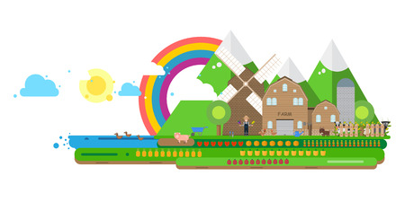 Farm life, country house windmill fruits and vegetables:  Vector flat illustration