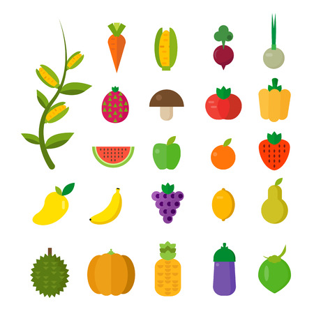Isolated vegetables set: fruits, vegetables, organic. Flat vector illustration set.