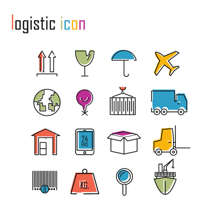 weighted: Line icons, Logistics icons, Modern infographic vector logo Illustration