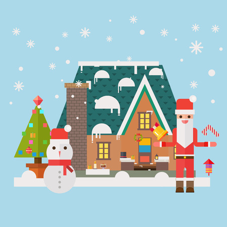mitten: Christmas and New Year santa gifts at home. Flat vector illustration.