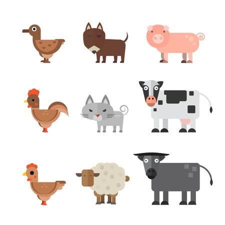 Animals vector flat illustration.