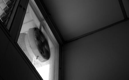 clogged: Clogged exhaust fan, full of accumulated dust, Black and white image Stock Photo