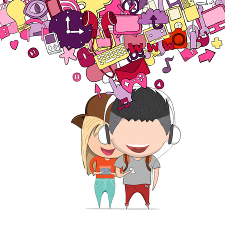 Boy and girl teens was selfie with phone happy with media icons technology hand lettering and doodles elements background.. Drawing by hand vector Illustration