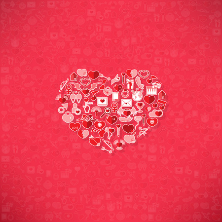 Red icon heart Valentines day card with sign on Icon love background Illustration