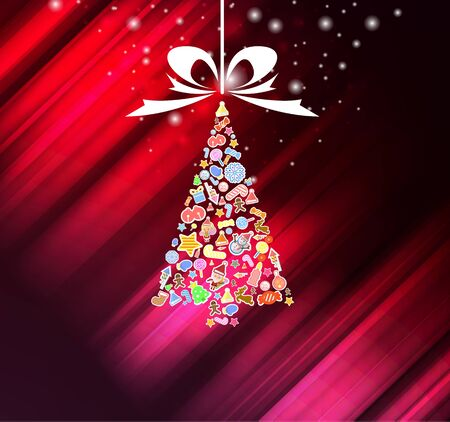 fifteen: Vector christmas tree icon. Vector illustration for christmas card.
