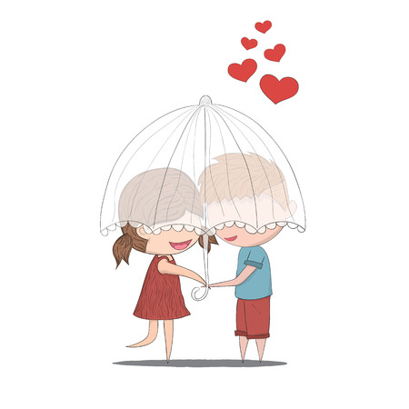 good friends: Cute cartoon doodle lovers a boy and a girl under umbrella.cute Valentines Day card, drawing by hand vector Illustration