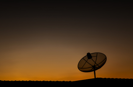 Satellite dish for evening light. Stock Photo
