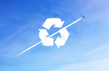 renew.: Recycle icon cloud shape is in the air. sky background