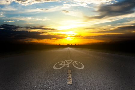 Bicycle path Silhouettes Sunset in the City.
