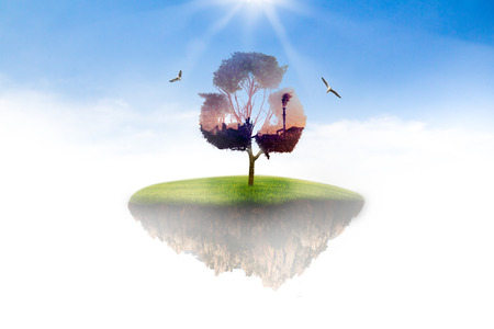 Island in the sky to the tree concept recycle of life. The concept of world love and clean energy.