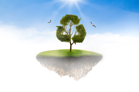 oasis: Island in the sky to the tree concept recycle of life. The concept of world love and clean energy.