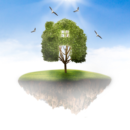 Island in the sky to the tree home concept recycle of life. The concept of world love and clean energy.