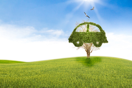 abstract recycle arrows: Concept car recycle of life. Big alone tree in the field. Stock Photo